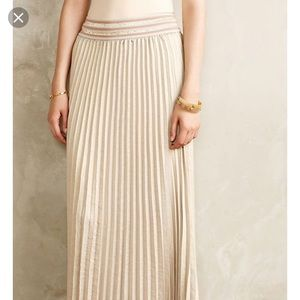 Anthropologie Gold Pleated Maxi Skirt